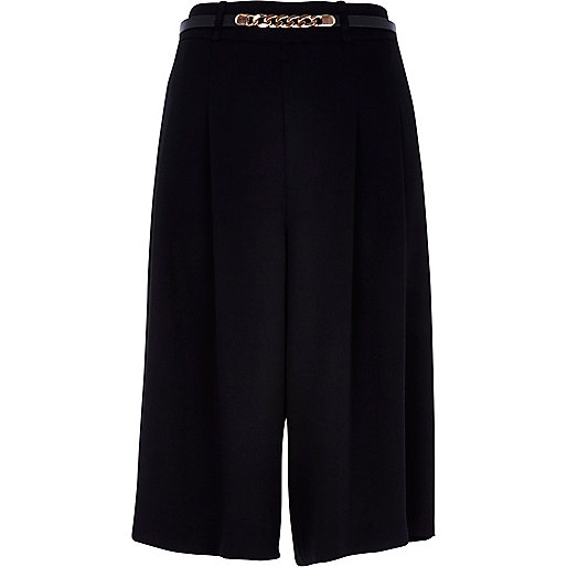 Black smart belted long culottes