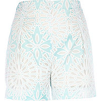 Light green floral high waisted shorts