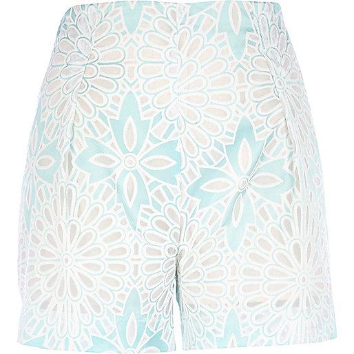 Light green floral high waisted shorts