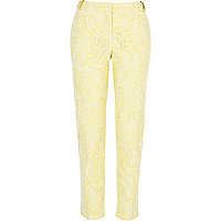 Yellow lace cigarette pants