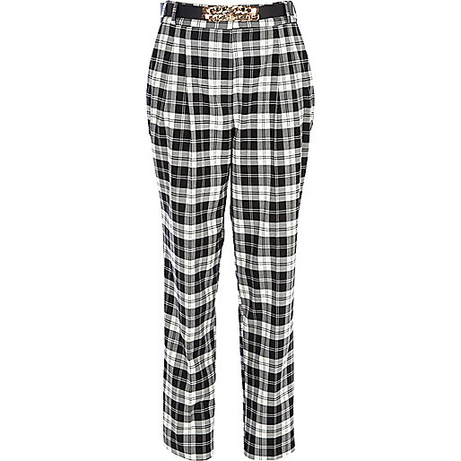 Black and white tartan high waisted trousers