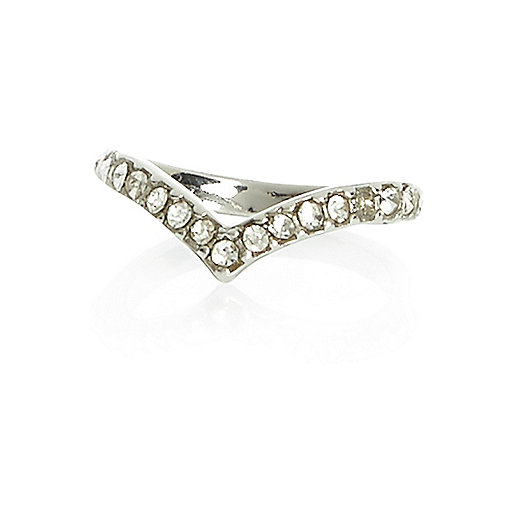 Silver tone diamante chevron midi ring
