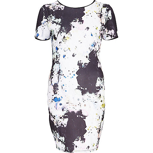 White splat print textured bodycon dress
