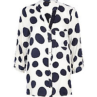 Navy polka dot print roll sleeve shirt