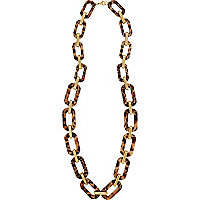 Leopard print perspex long necklace