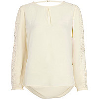 Cream lace insert blouse
