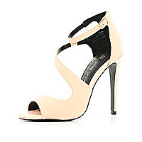 Light pink asymmetric stiletto sandals