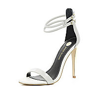 Light grey double strap barely there sandals