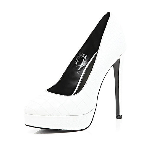 White mock croc platform court shoes
