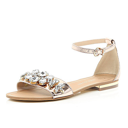 Gold metallic gem stone two-strap sandals