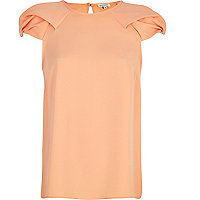 Orange puff sleeve swing top