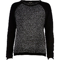 Black colour block boucle jumper