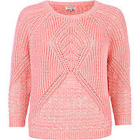 Pink geometric cable knit boxy jumper