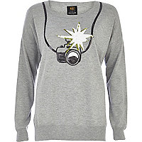 Grey sequin camera print jumper