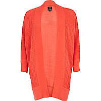 Coral textured knit dolman cardigan