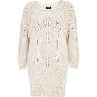 Cream geometric cable knit jumper dress