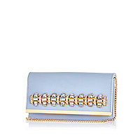 Lilac gem stone embellished clutch bag