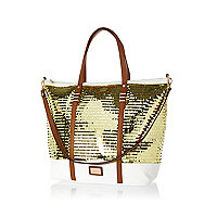 Gold sequin embellished tote bag