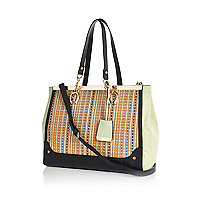 Light green woven panel metal trim tote bag