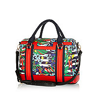 Navy floral stripe print bowler bag