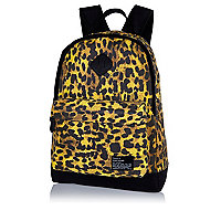 Brown animal print backpack