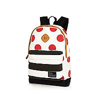 White polka dot and stripe print backpack