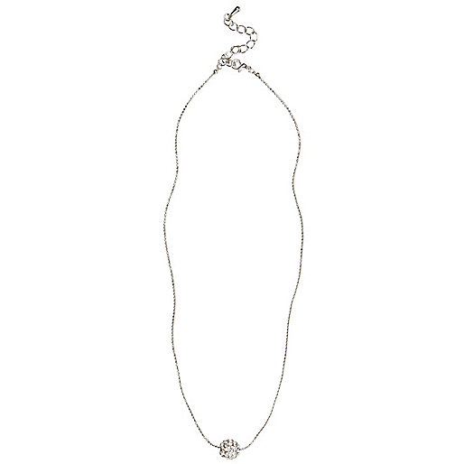 Silver tone diamante ball necklace