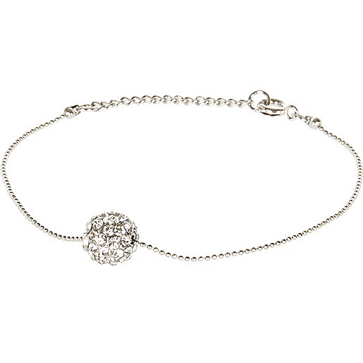 Silver tone diamante ball bracelet