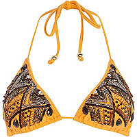 Orange embellished triangle bikini top