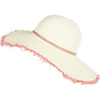 Cream woven paper trim floppy hat