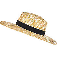 Cream straw boater hat