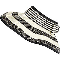 Cream stripe sequin visor hat