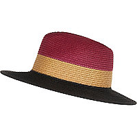 Dark red woven colour block fedora hat