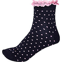 Navy polka dot frill trim ankle socks
