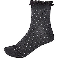 Dark grey polka dot frill trim ankle socks