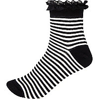 Black and white stripe frill trim socks
