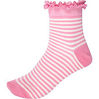 Pink and white stripe frill trim socks
