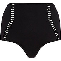 Black laddered high waisted bikini bottoms