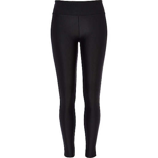 Black ribbed high waisted disco leggings