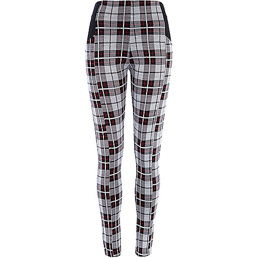 Grey tartan high waisted leggings