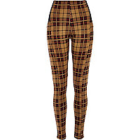Camel tartan high waisted leggings