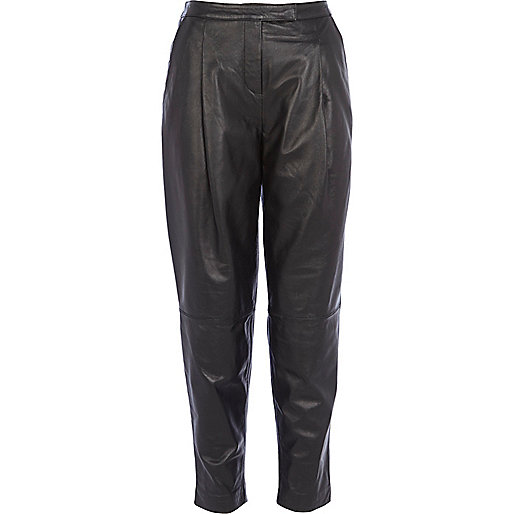 Black leather cigarette pants