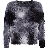 Grey spray print fluffy jumper