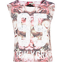 Pink floral 95 New York cropped tank top