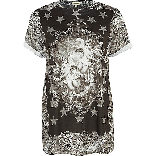 Black renaissance angel print t-shirt
