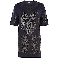 Navy paisley heart print t-shirt dress