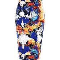 Blue splash print tube skirt