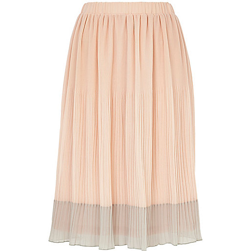 Beige two-tone pleated midi skirt