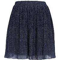 Navy polka dot pleated mini skirt