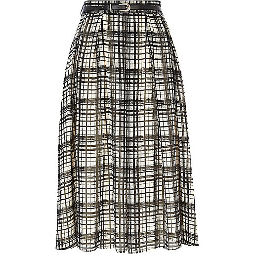 Black and white check full midi skirt